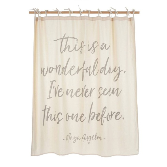 🆕 Cotton Shower Curtain with Quote